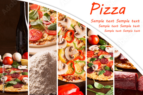 Collage from photoes of pizza - 79643546