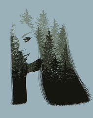 Nature scape on girl portrait