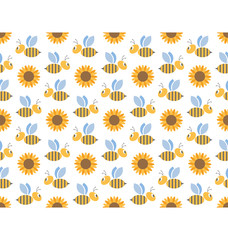 Spring bees and sunflowers seamless pattern isolated on white ba