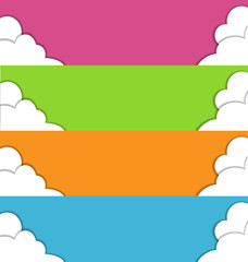 Four multicolored spring banners with white clouds