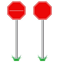 Red STOP road signs with grass isolated on white background