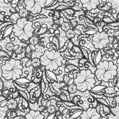 Seamless lace pattern. Black openwork flowers and leaves