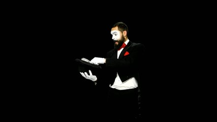 Funny man mime makes magic, alpha channel
