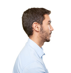 Close up of a young man in profile