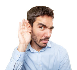 Close up of a concerned guy with gesture of not listening