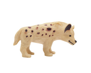 Isolated young spotty wolf toy