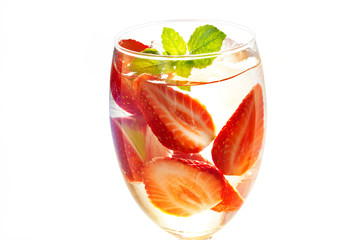 glass delicious refreshing drink of mix fruit, infusioned water