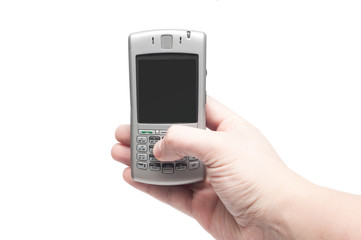 smart phone with qwerty keyboard in hand