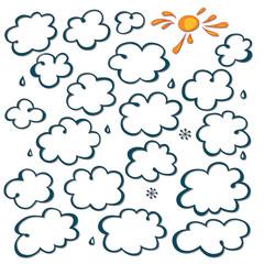 Curly cloud. The sun. Rain and snow. Shadow