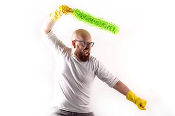 Uomo pulizie