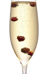 glass of sparkling wine with cranberries