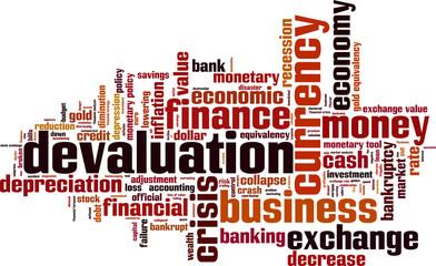Devaluation word cloud concept. Vector illustration