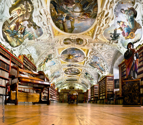 Aluminium Praag Strahov Monastery library interior in Prague