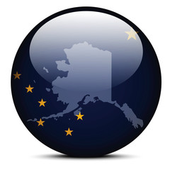 Map on flag button of USA Alaska State