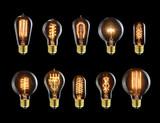 Set of vintage glowing bulb on black