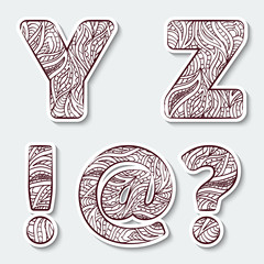 Capital letters  Y Z from the alphabet with tribal pattern