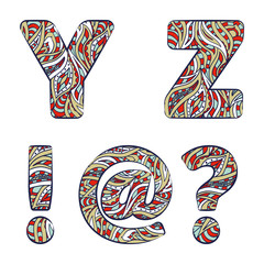 Letters Y, Z, exclamation mark, question mark, at commercial.