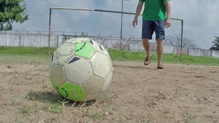 Slow motion soccer ball kick