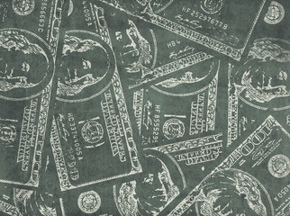 Grungy financial  background from hundred us dollar banknotes