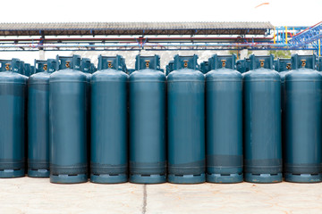 Many of the Gas bottles balloons with propane butane, in storage