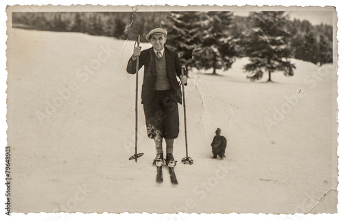 Vintage photo from skiing man in snow. Antique picture - 79648903