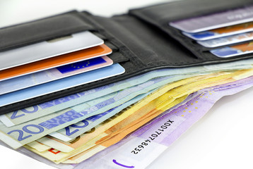 Credit cards and Euro banknotes