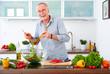 Mature man in the kitchen prepare salad VIII - 79649971