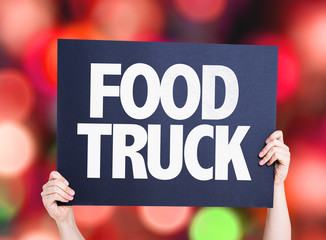 Food Truck card with bokeh background