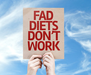 Fad Diets Don't Work card with sky background