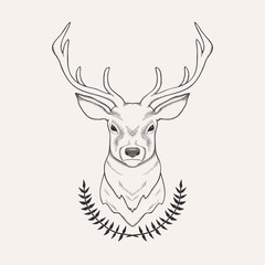 Vector hand drawn illustration of deer and laurel