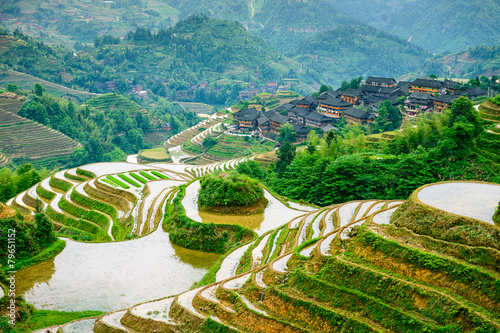 Tuinposter China Guilin, China Rice Terraces