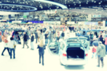 Blurred image of the International Geneva car show