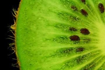 macro of kiwi pulp