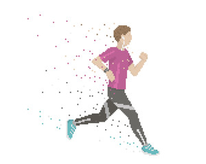 Pixel Art Runner With Swooshes