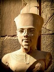 Bust of pharaoh Tutankhamun in Karnak Temple (Luxor, Egypt)