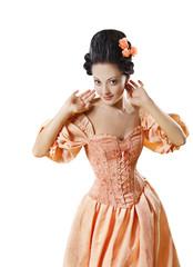 Woman Historic Baroque Costume Corset, Girl Rococo Retro Style