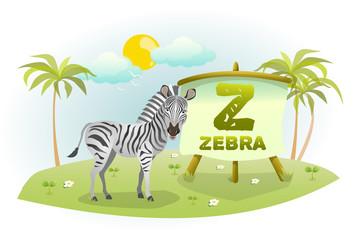 Funny Cartoon Alphabet Z With Zebra