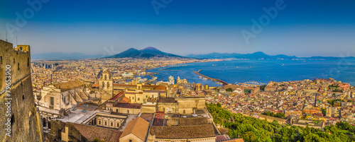 Foto op Canvas Mediterraans Europa City of Naples with Mt. Vesuvius at sunset, Campania, Italy