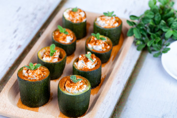 Zucchini Filled With Cheese