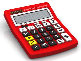Красный электронный калькулятор
