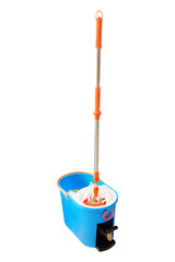Mop and bucket isolated on a white