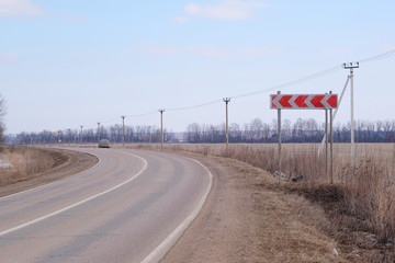 The image of curved country road