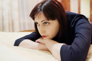 Woman brunette looking away from camera