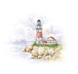 Watercolor lighthouse. Drawing of a sea landscape