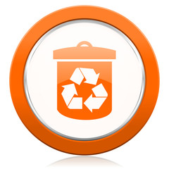 recycle orange icon recycling sign