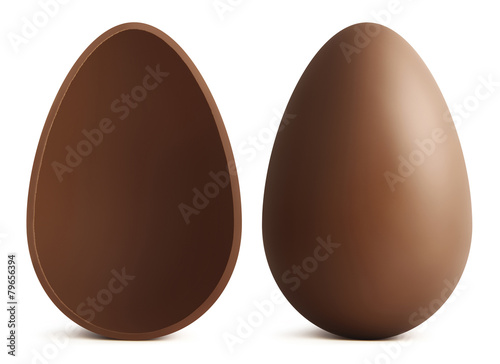chocolate Easter eggs on white background - 79656394