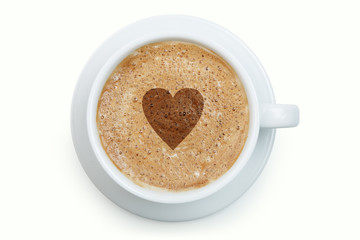 Cup of latte coffee with heart on the froth