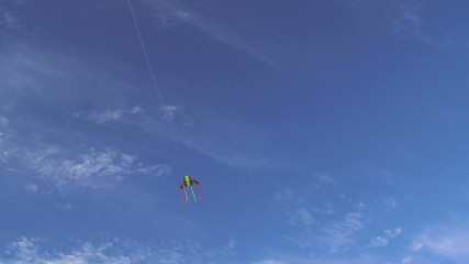 Colorful Kite Flying High In Blue Sky