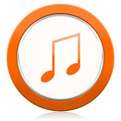 music orange icon note sign