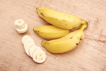 Banana bunch and sliced bananas